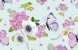 在水彩画风格中,与盛开的绣球花和蝴蝶的无缝图案。大自然中的美。纺织品印花和邀请函的背景。矢量图