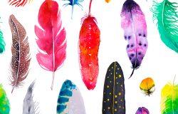 水彩亮丽异国羽毛无缝图案