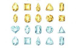 一套矢量现实的金色和银色的白色宝石和珠宝的白色背景。金光闪闪的钻石有不同的切割。设计节日礼品和珠宝店的元素和图标。
