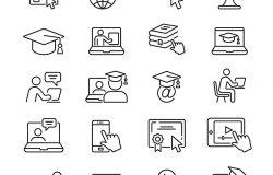 在线教育:薄矢量图标设置黑白工具包