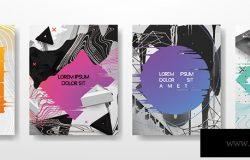 抽象流体创意模板卡片颜色覆盖集。几何设计液体形状。流行矢量收集。