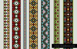 民族彩带图案。矢量墨西哥或西藏无缝丝带图案集与地毯设计隔离在白色背景