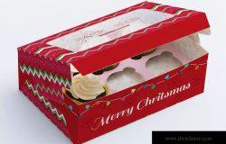六只装纸杯蛋糕包装盒外观设计样机模板02 Six Cupcake Box Mockup