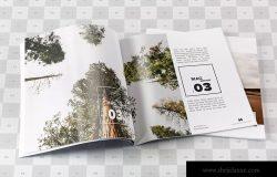 创意杂志内页排版设计欣赏样机模板 Square Magazine Spread Mockup