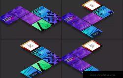 方形自媒体社交宣传设计效果图透视样机03 Square Perspective Mockup