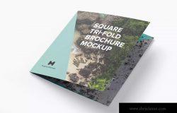 方形三折企业宣传册传单设计效果图样机01 Square Tri-Fold Brochure Mockup 01