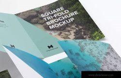 方形三折版式设计小册子&传单样机06 Square Tri-Fold Brochure Mockup