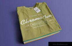 折叠堆栈T恤胸前印花图案设计样机01 Stack of Folded T-Shirts Mockup