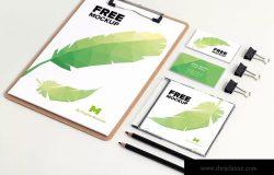 品牌视觉设计实物印刷效果预览等距网格办公用品样机模板02 Stationery PSD Mockup