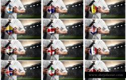 国家足球队支持者肌肉男样机
