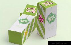 长方体产品包装盒设计效果图样机模板02 Tall Gift Box Mockup