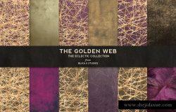 玫瑰金箔线条网状暗色调背景纹理 The Golden Web: Networked Graphics