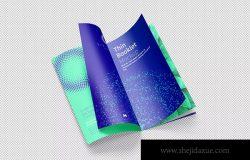 企业品牌宣传册设计翻页效果样机模板02 Thin Booklet Mockup