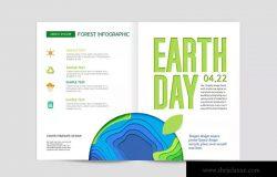 地球保护日主题杂志封面设计模板