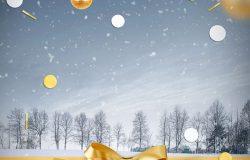 冬季圣诞节背景海报psd素材