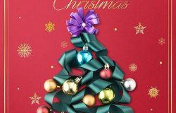 彩色装饰球圣诞球海报图片psd素材