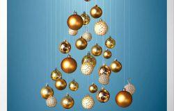 金色装饰球圣诞树海报设计素材[PSD]