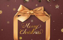 豪华金丝带礼盒圣诞主题海报传单psd素材
