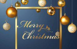 圣诞装饰球圣诞节日问候海报模板psd素材