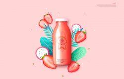 草莓果汁饮料广告海报设计韩国素材