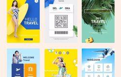 夏季假期旅行活动主题APP应用UI设计PSD模板