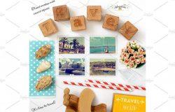 旅行主题照片卡样机 Travel Theme Styled Mockup