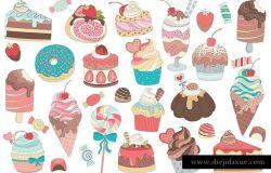 31款水彩手绘甜点矢量图形 31 Treats & Candy Vector and PNG Set