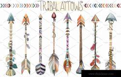 原始部落独特箭头矢量png,jpg素材集 Tribal Arrows Vector PNG, & JPG Set