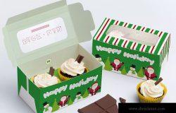 两只装纸杯蛋糕包装盒设计效果图样机01 Two Cupcake Box Mockup