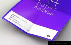 折叠展开效果A4纸张样机模板 Unfolded A4 Paper Mockup