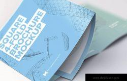 方形四折页小册子&传单展开效果特写样机模板 Unfolding Square 4-Fold Brochure Close Up Mockup