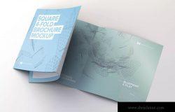 展开方形四折页小册子/传单设计展开效果样机 Unfolding Square 4-Fold Brochure Mockup