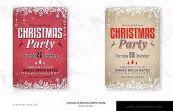 复古圣诞派对宣传单设计素材 Vintage Christmas Party Flyers