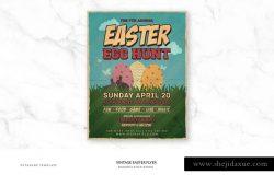 复古风格复活节活动传单模板 Vintage Easter Flyer