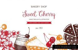 墨水手绘烘焙樱桃甜点矢量插图合集 Cherry Desserts & Baking Set