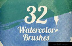 32个超高分辨率水彩笔触笔刷 Watercolor Strokes Brush Pack