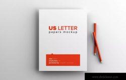 美国信纸尺寸纸张印刷排版设计样机 US Letter Paper Mockup