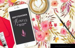 九月花手工花卉剪贴画 September Flowers