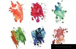 水彩滴痕效果 – 矢量纹理和画笔