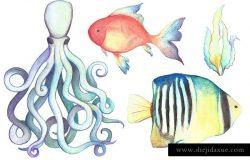手绘水彩海洋生物设计元素 Watercolor Sea Life Clipart Bundle