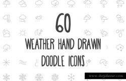 60款手绘涂鸦风格天气主题图标 60 Weather Hand Drawn Doodle Icons