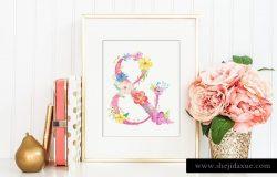 粉色少女心花卉字母合集