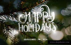 手绘圣诞照片加工叠层素材 Handdrawn Christmas Photo Overlays