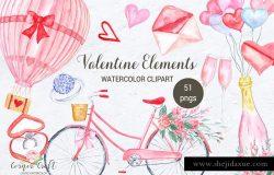 手绘水彩情人节元素剪贴画 Watercolor Valentine Elements