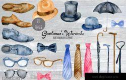 男士服饰水彩剪贴画素材 Watercolor Gentleman\\\'s Wardrobe