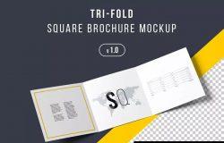 方形三折页企业品牌介绍手册样机