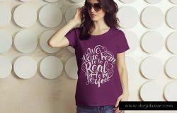 时尚女装印花T恤服装样机模板 Female T-Shirt Mockup