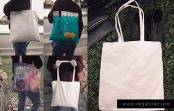 时尚麻布手提袋/购物袋样机模板 Tote Bag Mockups
