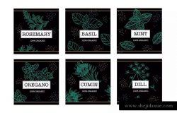 绿色植物图形标签徽章模板 Seasoned Labels Badges
