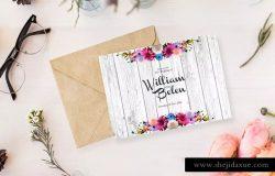 现代婚礼花卉装饰邀请函模板 Floral Wedding Invitation Card